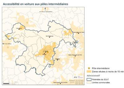 PETR Causses et Cévennes: Accessibilité en voiture aux pôles intermédiaires