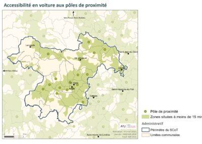 PETR Causses et Cévennes: Accessibilité en voiture aux pôles de proximité