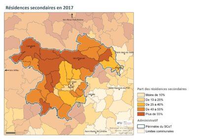 PETR Causses et Cévennes: résidences secondaires en 2017