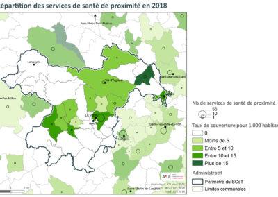 PETR Causses et Cévennes: Répartition des services de santé de proximité en 2018