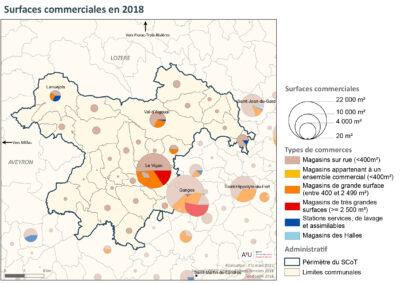 PETR Causses et Cévennes: Surfaces commerciales en 2018